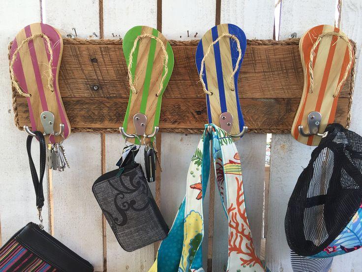 Outdoor Towel Rack, Outdoor Shower Hooks, Pool Towel Rack, Reclaimed Wood Wall Art, Entryway Organizer, Dog Leash Holder, Flip Flop Decor by FunkieJunkEmporium on Etsy