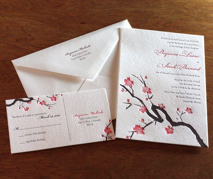Sakura Letterpress Wedding Invitation By Invitations Ajalon