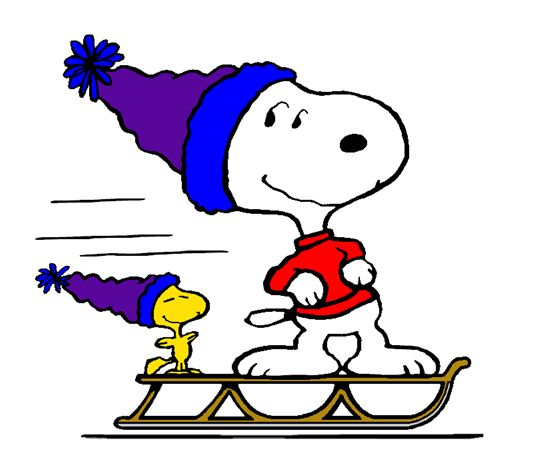 Snoopy Taking Woodstock for a Ride on his New Sled