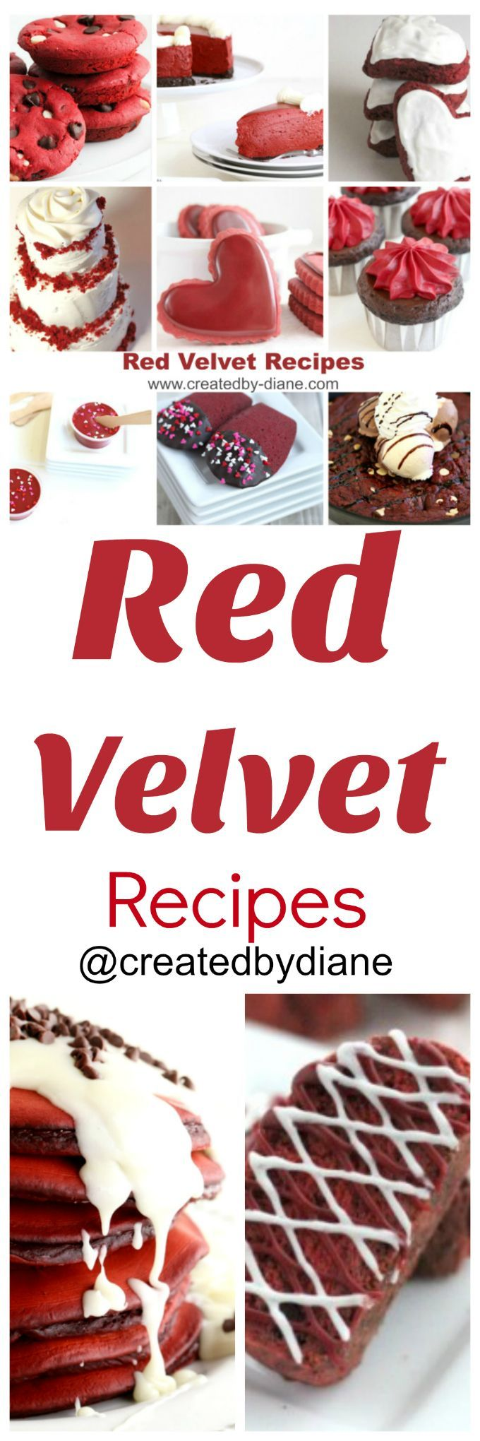 You are sure to find a new favorite among these red velvet recipes!   It's no secret I love red velvet, the color always captures my eye. I love the flavor, it's lightly chocolaty and has a tanginess that is just right.... and I do love RED!, so I've created many red velvet recipes, I gathered some right here in case you've missed any. I've created many red velvet recipes, I gathered some right here in case you've missed any. Dive right in and make one and find yours...