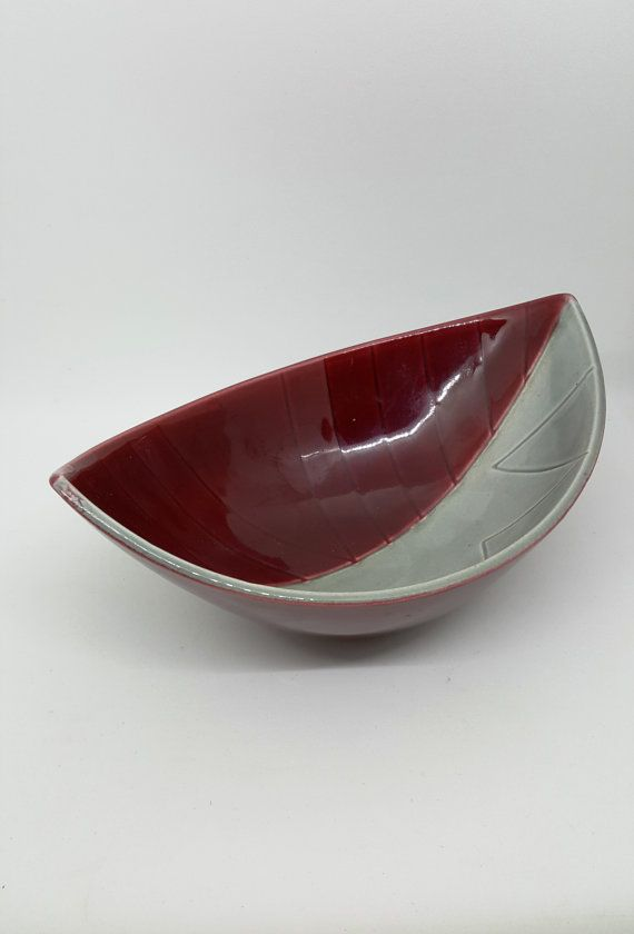 Rörstrand Red and Grey Bowl Leaf Shape / by RetroandRitzy on Etsy