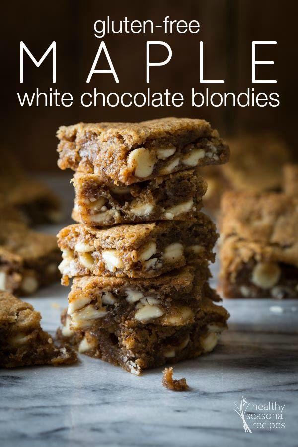 gluten-free maple white chocolate blondies