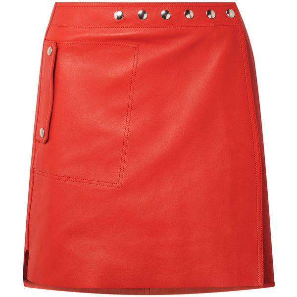 Acne Studios Shiryn leather wrap mini skirt (50.660 RUB) ❤ liked on Polyvore featuring skirts, mini skirts, bottoms, red, red leather skirt, leather a line skirt, red a line skirt and a-line skirts