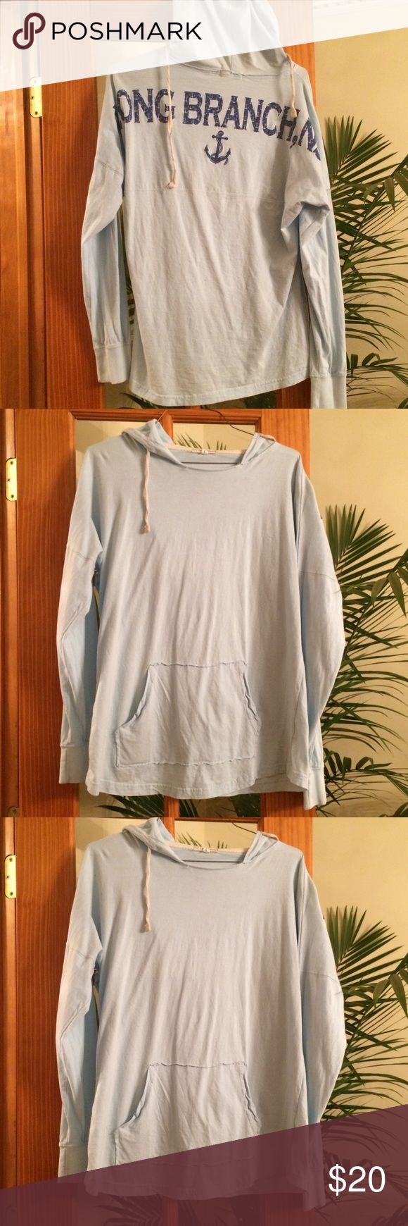 Light Blue NJ Beach Sweatshirt Hoodie Bring a bit of the Jersey Shore to your door with this comfortable, slightly distressed hooded light weight sweater. Long branch, NJ is a very popular & lovely beach where so many families vacation year after year! Size: L - Color: Light Blue - Used: Twice 🌟🌟🌟🌟🌟BUY THIS HOODIE TODAY I WILL INCLUDE THE HOLLISTER BRACELET FOR FREE! Sorry No Trades! Too Cool Crew Tops Sweatshirts & Hoodies