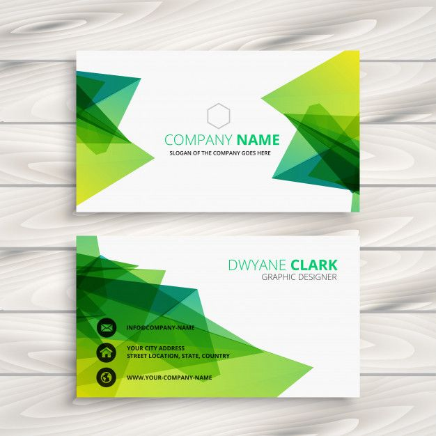 Abstract Green Business Card Design Free Vector Business Card Design Green Business Card Design Card Design