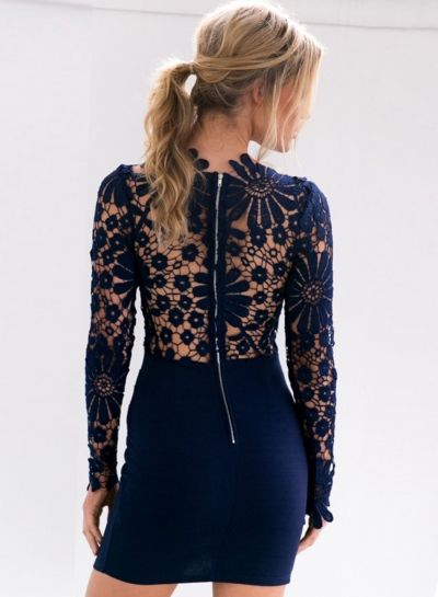 Floral Lace Paneled Bodycon Dress - OASAP.com