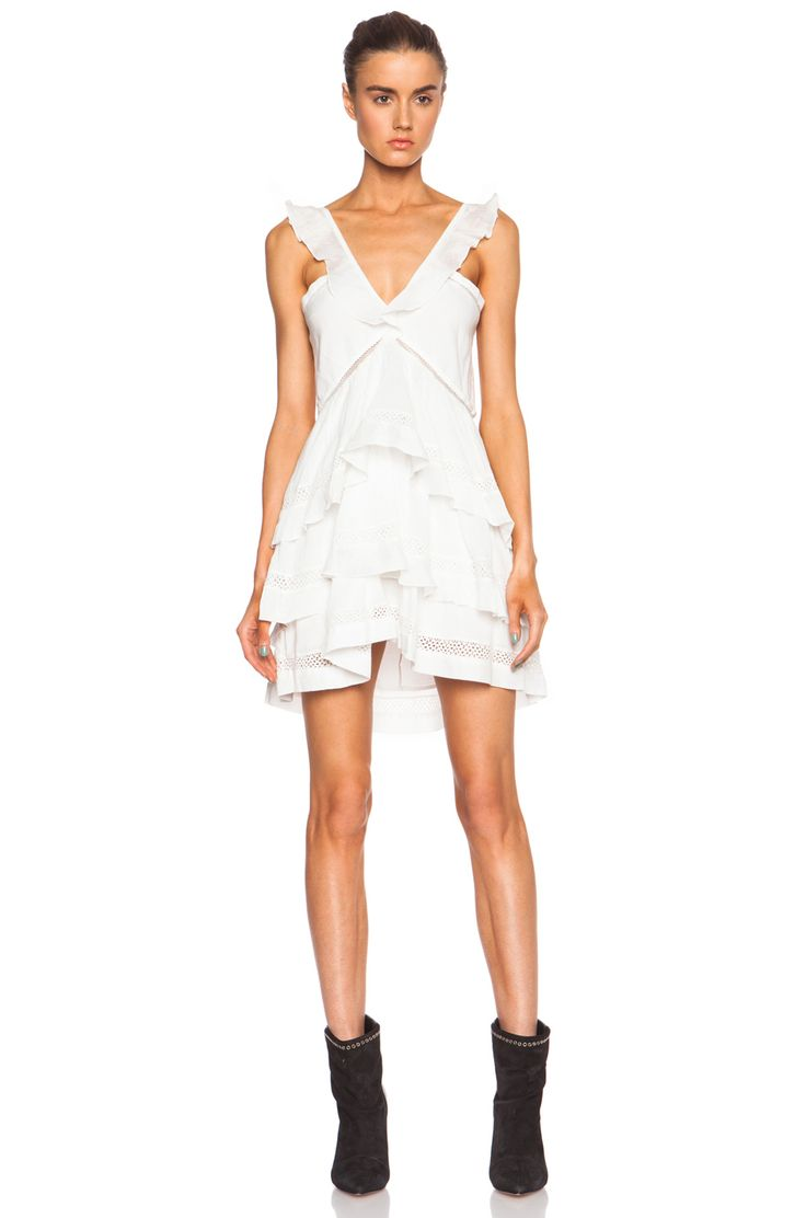 Image 1 of Isabel Marant Etoile Casey Cotton-Blend Voile Vintage Dress in White