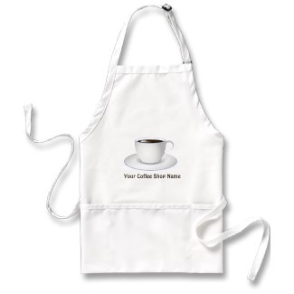 Coffee Cup Cafe Staff Coffee Shop Standard Aprons by sunnymars   See more Cafe Aprons    This cool custom standard medium length trendy and stylish coffee or cafe staff apron feature an illustration of a steaming cup of black coffee, in a white porcelain coffee cup or coffee mug. Personalize it by adding your own text or business name.