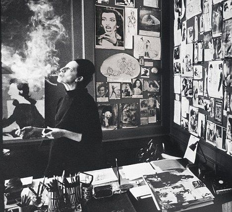 Diana Vreeland in Vogue Office, 1965..I <3 her!!! ..Her wall reminds me of Pinterest..lol.. #Vogue