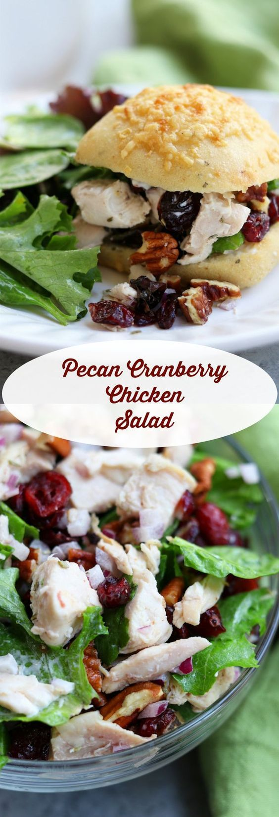 Pecan Cranberry Chicken Salad recipe makes a perfect light and tasty lunch nestled in your favorite bread. Sweet, creamy and savory, you will feel like you just had lunch at a sidewalk cafe. http://www.thefedupfoodie.com: