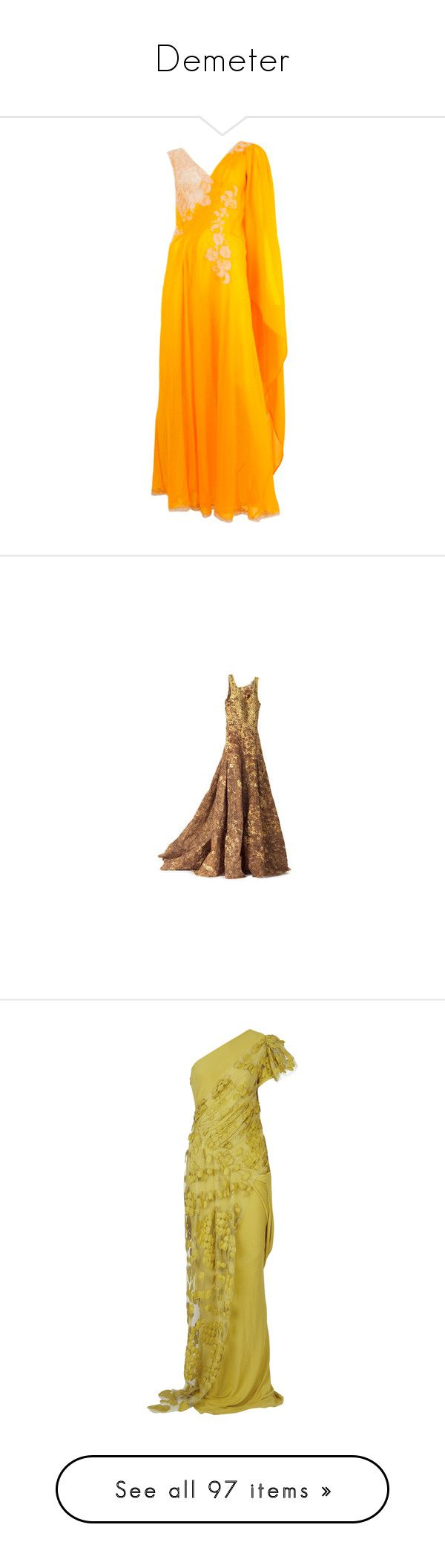 """""""Demeter"""" by mlleemilee ❤ liked on Polyvore featuring dresses, gowns, evening gowns, orange long dress, couture gowns, lace ball gown, long ball gowns, long evening gowns, long dress and long dresses"""