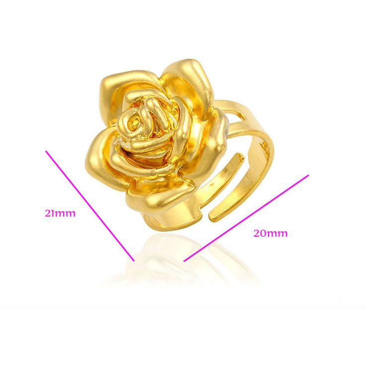 Stunning Rose Disign 24K Gold Ring/Gift
