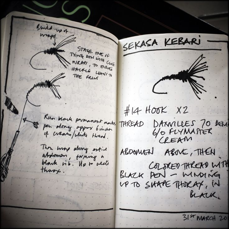 Fly tying notes. This is cool detail. Must remember to keep a journal.