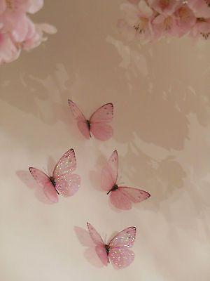 4 Pink Girls 3D Sparkling Fairy Dust Butterflies Butterfly Bedroom Accessories