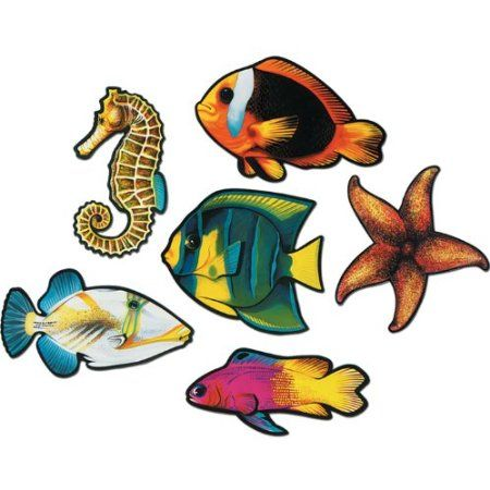Tropical Fish Cutouts - Pack of 6: Amazon.co.uk: Kitchen & Home