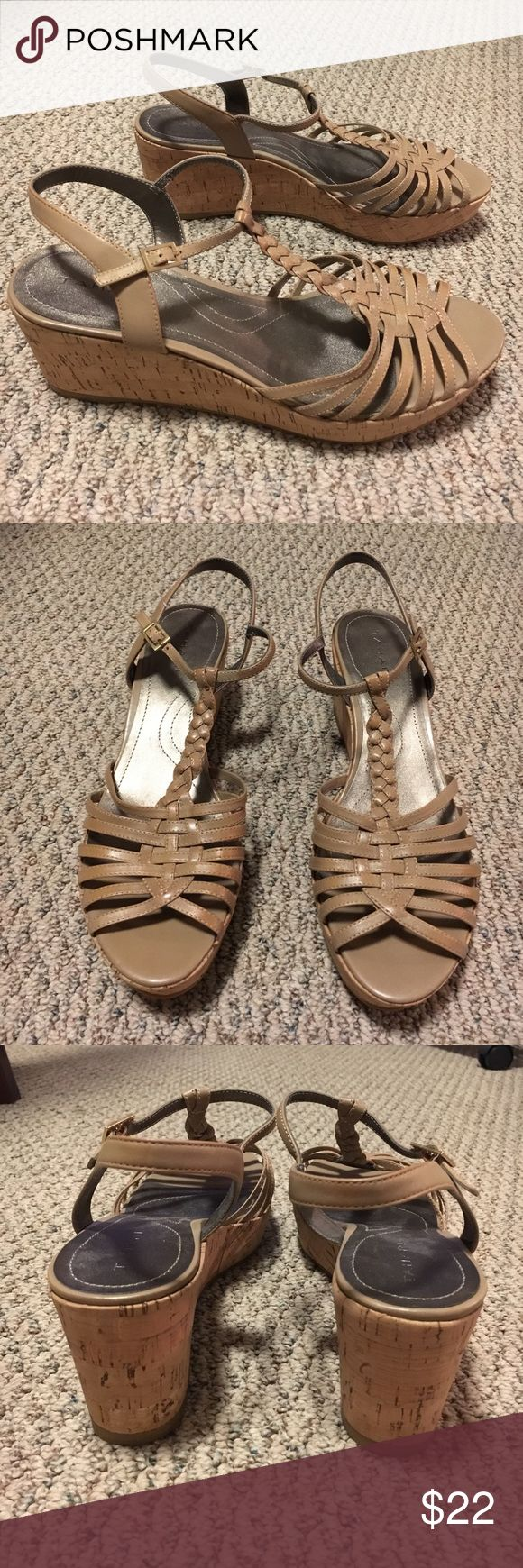 "Strapping Tahari Cork Wedges 4"" Cork wedge, braided strappy sandal Tahari Shoes Wedges"