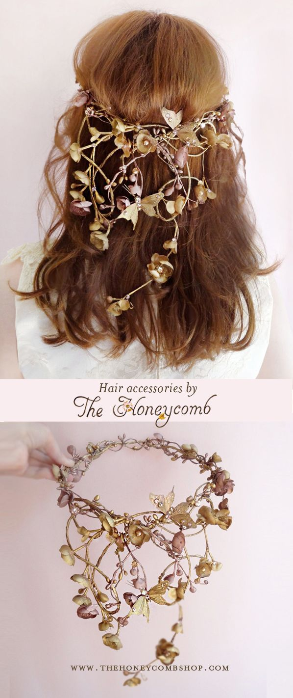 Hair accessories catalog request - Bronze Metallic Hair Accessories With Gilded Butterflies And Swarovski Crystals And Pearls Luxurious Statement Headpieces