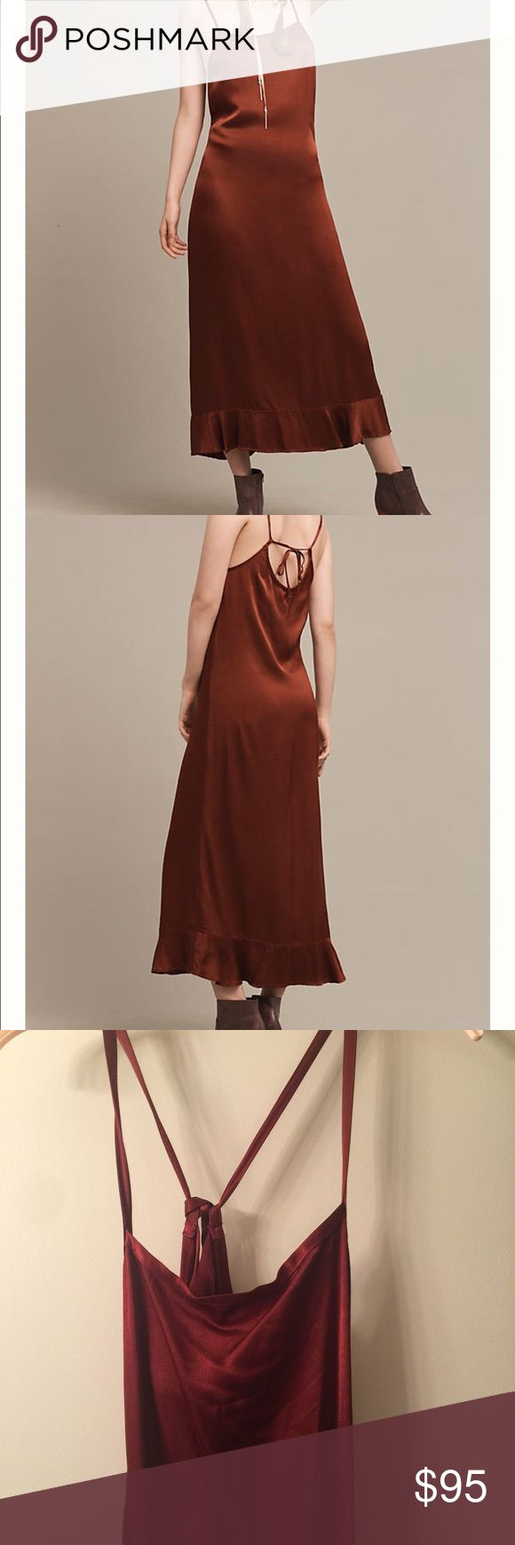 Anthropologie Arcadia midi dress by lacausa More red/maroon (as opposed to burnt orange) than the Anthropologie photo I think! See photos of actual dress for color. Worn once for a holiday party- beautiful slip dress! Size medium (fit me at size 6). Wrinkles easily- will need iron or steam. 51% viscose, 49% rayon. Anthropologie Dresses Midi
