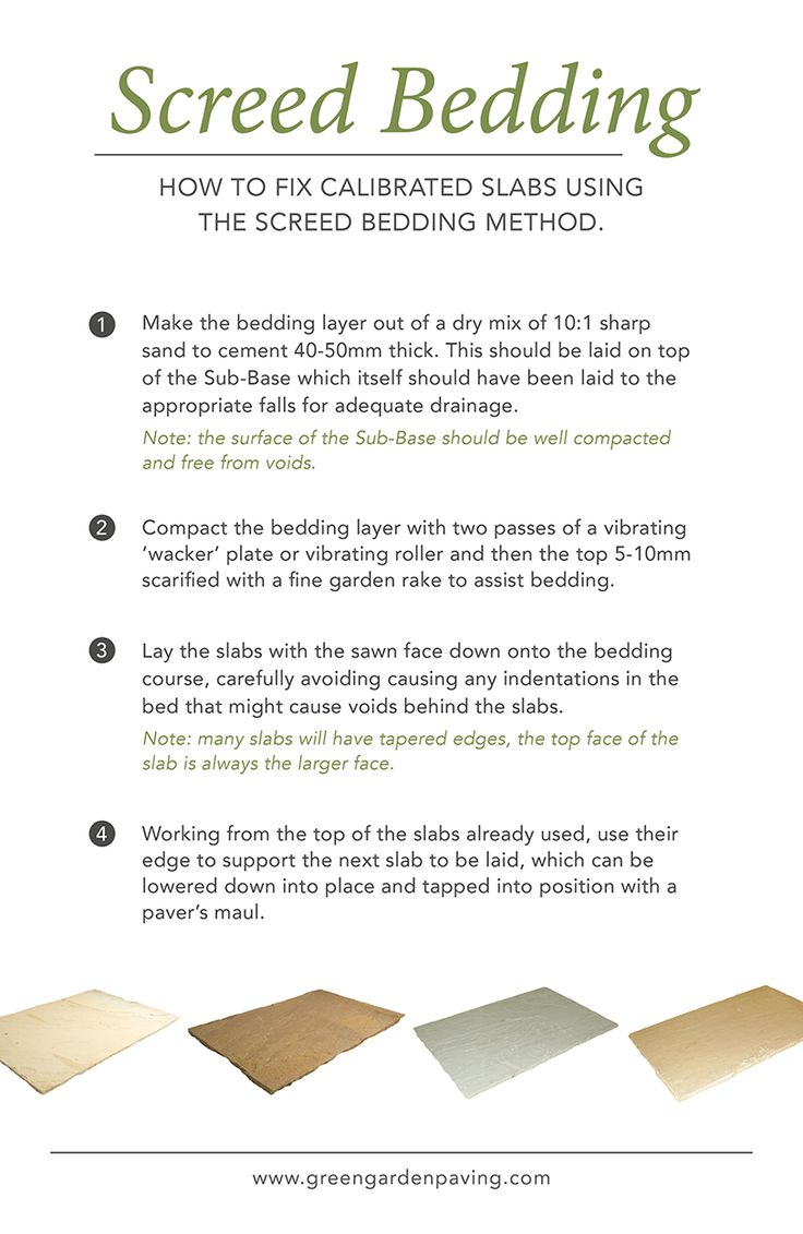 How to fix calibrated paving slabs using the screed bedding method.