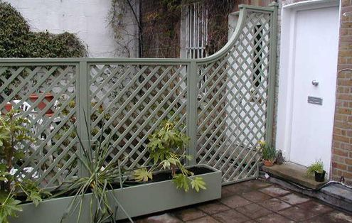 trellis garden fence and planter is a soft Lichen grey green - The Garden Trellis Company - Products