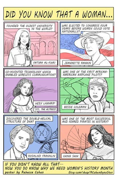 Women's History Month Summed Up In A Single Cartoon - obviously an American initiative, but a good one! I did know many of these things, but I did not know about Hedy Lamarr! ~M