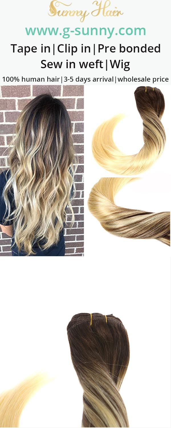 Sunny Hair 100% real human hair extensions, clip in human hair extensions, get longer fuller hair within 3 minutes. Blonde mixed balayage color effect . Factory directly selling with wholesale price. www.g-sunny.com