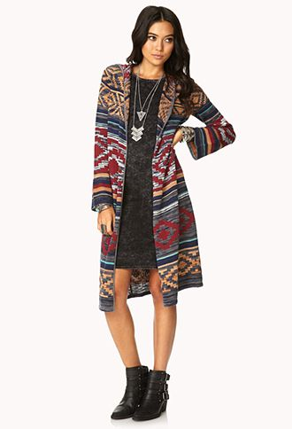 Rustic Hooded Maxi Cardigan   FOREVER21 – 2000111893