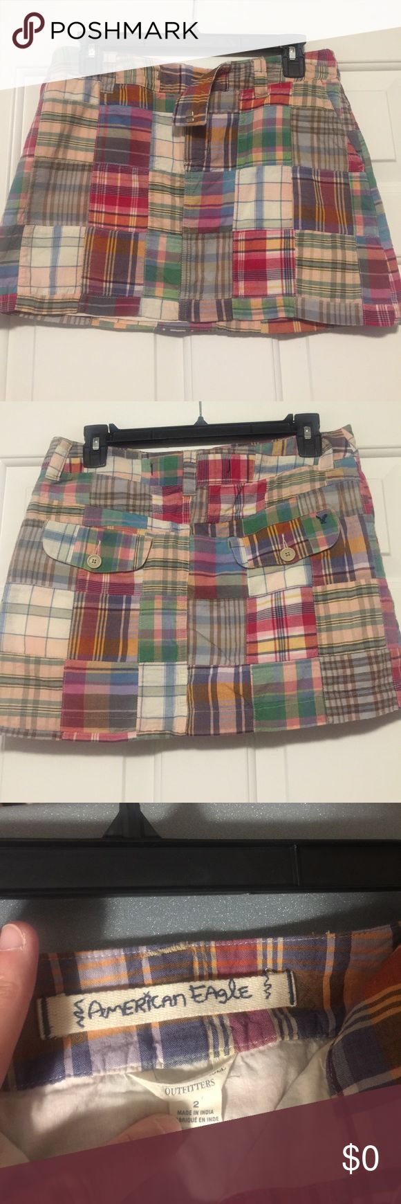 "American Eagle Patchwork Skirt American Eagle Outfitters multi-colored Patchwork Skirt. Pockets in front and two pockets in back. Great condition. Length 12"" American Eagle Outfitters Skirts Mini"