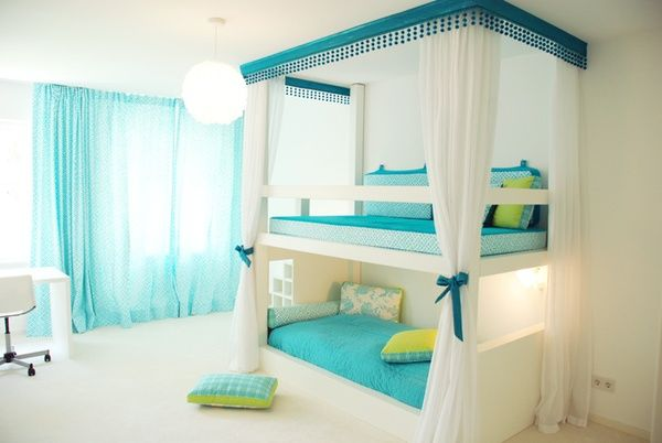 blue and white bunk bed for girls