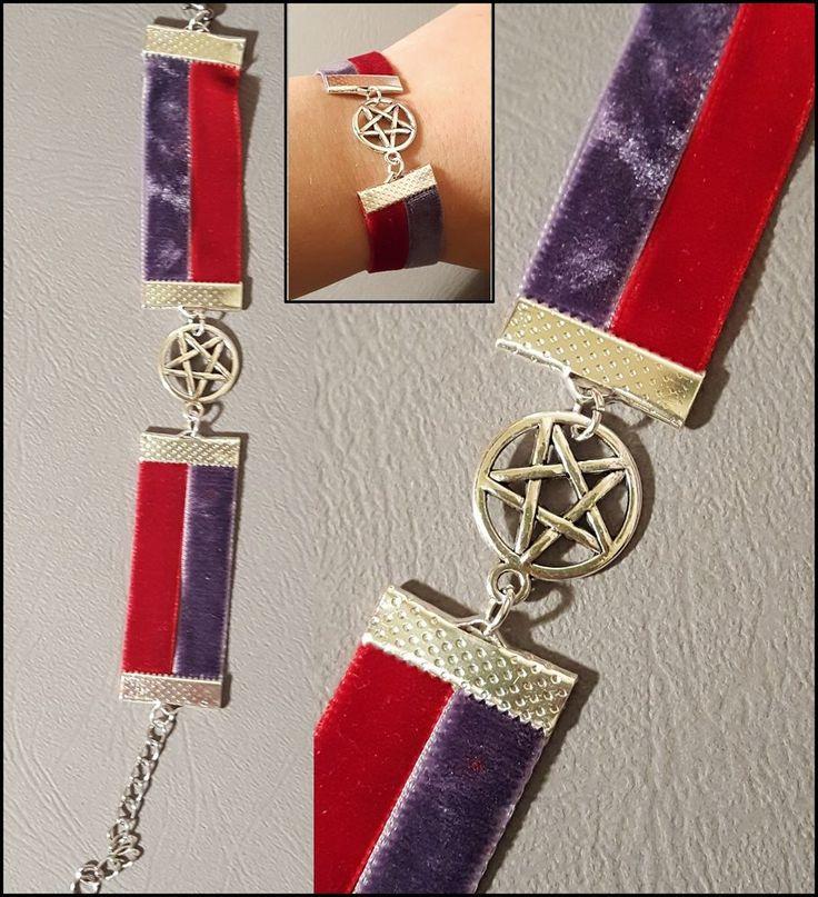 bracciale pentacolo velluto rosso viola wicca