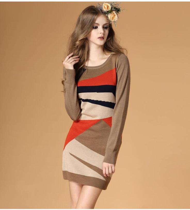 Geometry long sleeved wool dress $65.38