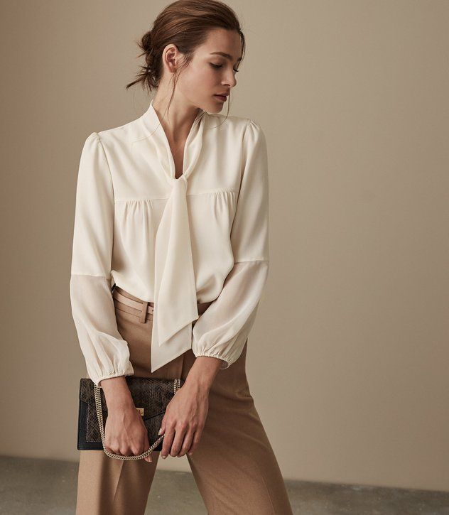 REISS - CATALINA BOW DETAIL BLOUSE