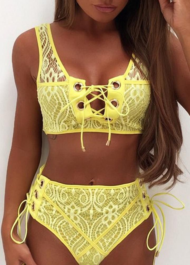 d061713650de9 Cute Lace High Waisted Bikini for Teens - Trendy Popular Flattering  Slimming Tie Up Corset Two Piece Bikinis Midikini for Women in White /  Black / Red ...