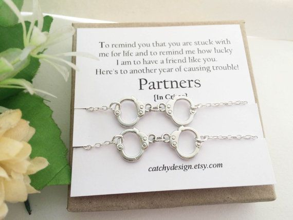 Set of 2-Partners in crime necklaceHandcuff necklace Best