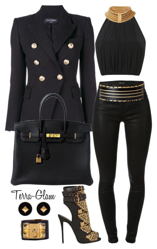 """You Gotta Own It, If You Want It"" by terra-glam ❤ liked on Polyvore featuring Balmain, J Brand, Hermès, Giuseppe Zanotti, women's clothing, women's fashion, women, female, woman and misses"
