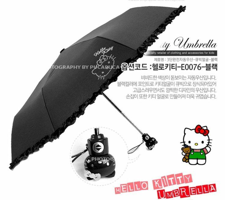 Hello Kitty Umbrella 3 Fold Auto Button Woman Lady Girl Children Gift Cubic Face