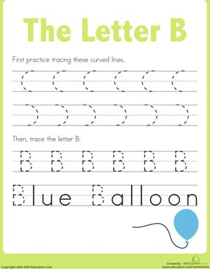 Letter B Tracing Practice Preschool Writing Tracing