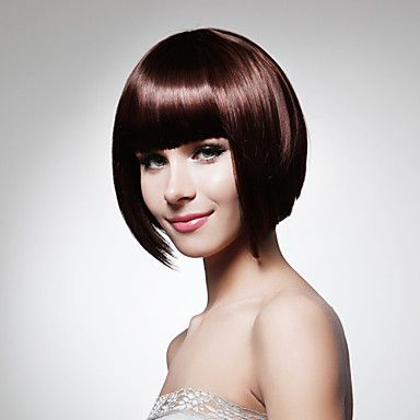 Capless Short Bob High Quality Synthetic Dark Brown Straight Hair Wig – USD $ 23.99
