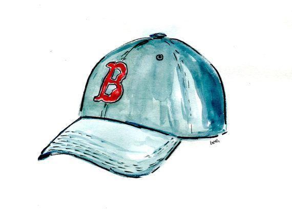 Arte stampa - fidanzato regalo - Baseball - Boston Red Sox Baseball Hat - vacanza regalo per papà - regali uomo - Baby Boy Nursery - Fenway Park