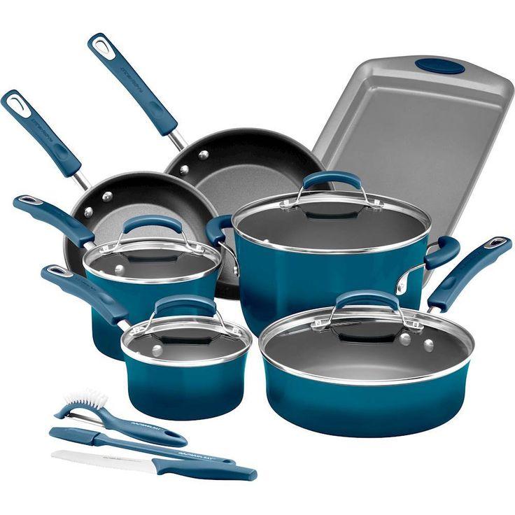 Rachael Ray - 14-Piece Cookware Set - Marine Blue