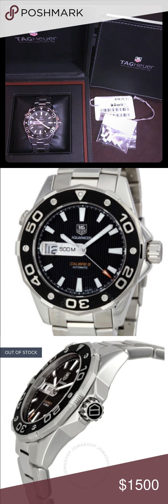 TAG HEUER Aquaracer Calibre 5 Mens Watch ***Great condition. See pictures  ***FEEL FREE TO MAKE AN OFFER   ***Accessories: 3 extra links, origins tag, original box and manual  ***Automatic ***Calibre 5 ***500 meter  ***Chrome and Brushed Chrome    Price paid over $3,200  FREE SHIPPING. PRIORITY USPS  AND EXTRA INSURANCE (mail purposes)   Ask for extra pictures or any other questions !!!! Tag Heuer Accessories Watches