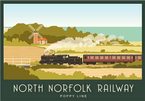 North Norfolk Railway Weybourne windmill, Sheringham to Holt. I think this is the first one with a train on. Posters start at £12 from www.whiteonesugar.co.uk