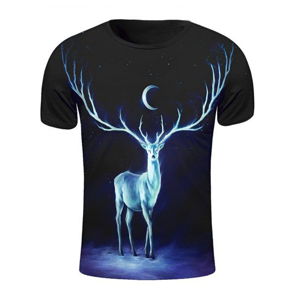 $11.15 Round Neck 3D Starry Sky and Elk Print Short Sleeve Stylish T-Shirt For Men