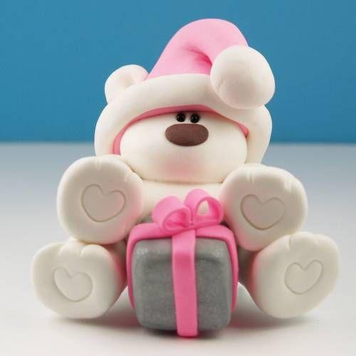 Christmas Bear - POTTERY, CERAMICS, POLYMER CLAY