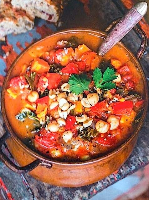Ingredients: 1 tsp. extra virgin olive oil 1 medium sweet onion 3 cloves garlic, minced 1 red pepper, diced 1 jalapeno, seeded and diced 1 medium sweet potato, peeled and chopped into 1/2 inch piec…