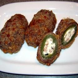 Armadillo Eggs! Had these when I was in Lubbock, TX <3. It's basically what we could consider a 'jalapeño popper, but wrapped in sausage! So good.Eggs Allrecipescom, Drinks Close, Texas, Jalapeno Poppers, Armadillo Eggs, Eggs Allrecipes Com, Lonely, Easy Version, Easy Armadillo