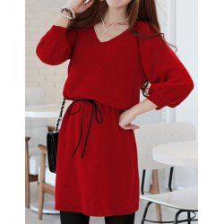 $7.07 Solid Color Simple Style Skinny Puff Sleeves V-Neck Dress For Women