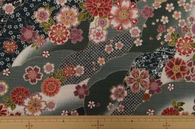 Telas japonesas - Tela japonesa, Sakura, flor, gris - hecho a mano por Alleco en DaWanda