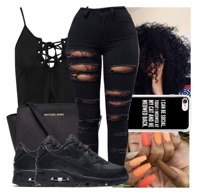 """"""""""" by kodakdej ❤ liked on Polyvore featuring Boohoo, Michael Kors, Casetify and NIKE"""