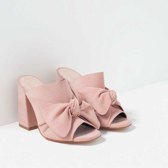 Image 3 of LEATHER HIGH HEEL SLIDES WITH BOW from Zara